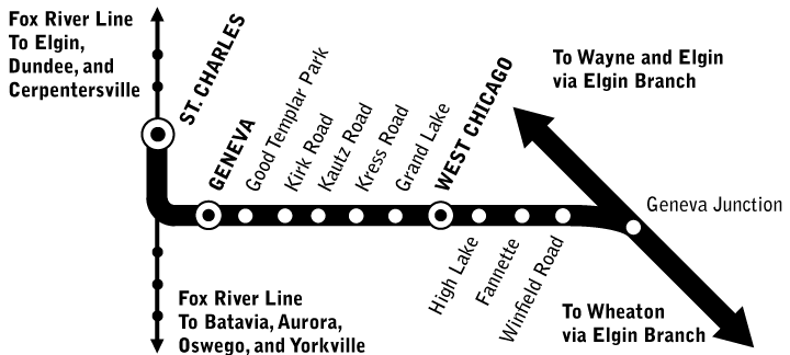 Geneva Branch route map